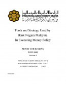 Tools and Strategy by Bnm in Executing Monetary Policy