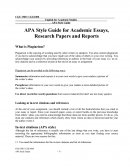 Apa Style Guide for Academic Essays, Research Papers and Reports