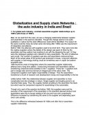 Globalization and Supply Chain Networks : The Auto Industry in India and Brazil
