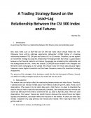 A Trading Strategy Based on the Lead–lag Relationship Between the Spot Index and Futures Contract for the Csi 300