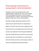 Online Gaming Is Detrimental to Young People's Social Development